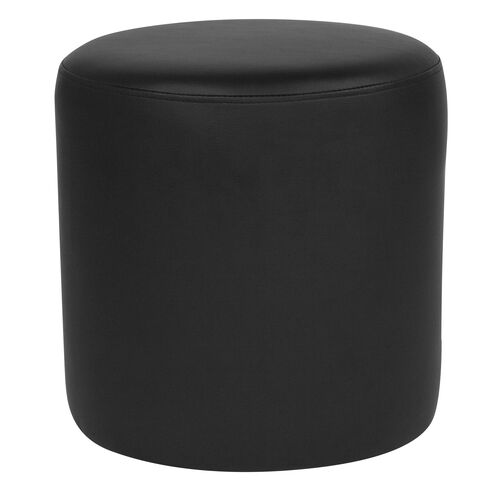 Our Barrington Upholstered Round Ottoman Pouf in Black Leather is on sale now.