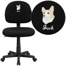Embroidered Mid-Back Black Fabric Swivel Task Office Chair