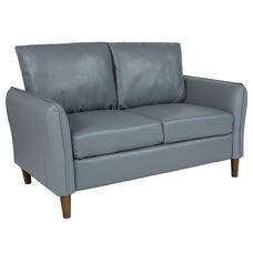 Milton Park Upholstered Plush Pillow Back Loveseat in Gray LeatherSoft