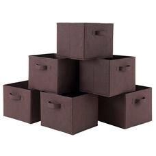Capri Foldable Fabric Baskets in Chocolate - Set of 6