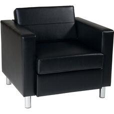Ave Six Pacific Faux Leather Arm Chair with Chrome Finish Legs - Black