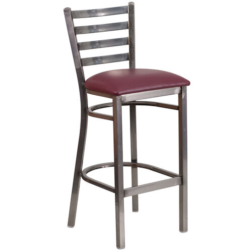 Our Clear Coated Ladder Back Metal Restaurant Barstool with Burgundy Vinyl Seat is on sale now.