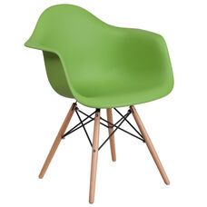 Alonza Series Green Plastic Chair with Wood Base
