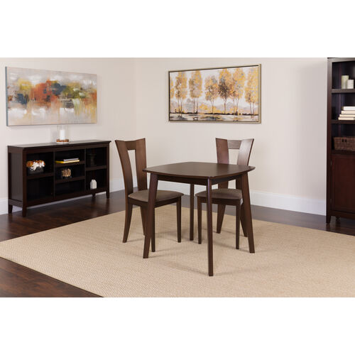 Our Exeter 3 Piece Espresso Wood Dining Table Set with Slotted Back Wood Dining Chairs - Padded Seats is on sale now.
