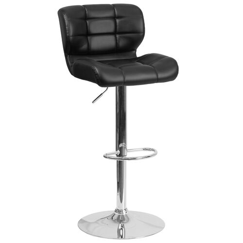 Our Contemporary Tufted Black Vinyl Adjustable Height Barstool with Chrome Base is on sale now.