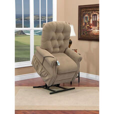 Two Way Reclining Power Lift Chair with Matching Arm and Headrest Covers - Aaron Light Brown Fabric