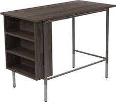 Hillside Light Applewood Finish Computer Desk with Side Storage Shelves