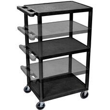 3 Shelf Height Adjustable Mobile A/V Utility Cart with 3 Outlet Surge - Black - 24