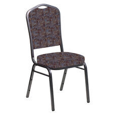 Embroidered Crown Back Banquet Chair in Perplex Azure Fabric - Silver Vein Frame