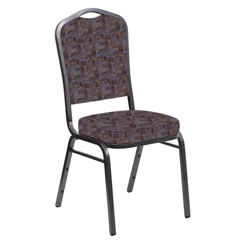 Our Embroidered Crown Back Banquet Chair in Perplex Azure Fabric - Silver Vein Frame is on sale now.