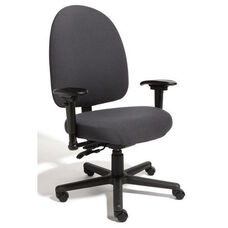 Triton Max Large Back Desk Height Cleanroom ESD Chair with 500 lb. Capacity - 6 Way Control - Black Vinyl