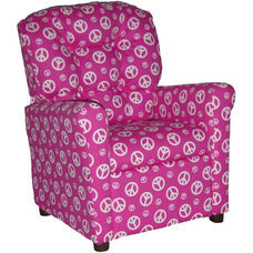 Kids Recliner with Button Tufted Back - Peace Pink