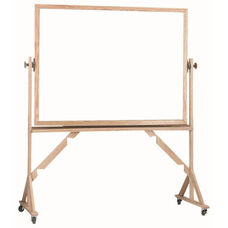 Reversible Free Standing Melamine White Marker Board with Red Oak Frame - 48