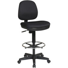 Work Smart Contemporary Armless Drafting Chair with Flex Back and Adjustable Foot Rest