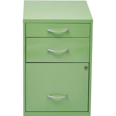OSP Designs 3-Drawer Storage Cabinet with Locking Filing Drawer - Green