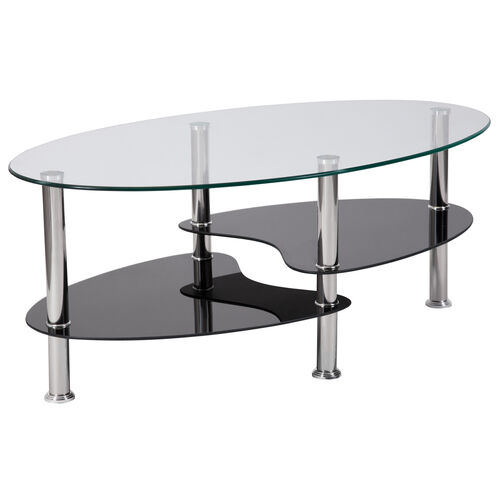 Our Hampden Glass Coffee Table with Black Glass Shelves and Stainless Steel Legs is on sale now.