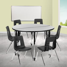 "Mobile 47.5"" Circle Wave Collaborative Laminate Activity Table Set with 18"" Student Stack Chairs, Grey/Black"