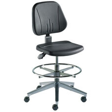 Quick Ship Unitec Series Chair with Black Self Skinned Urethane and Wide Aluminum Base - Medium Seat Height