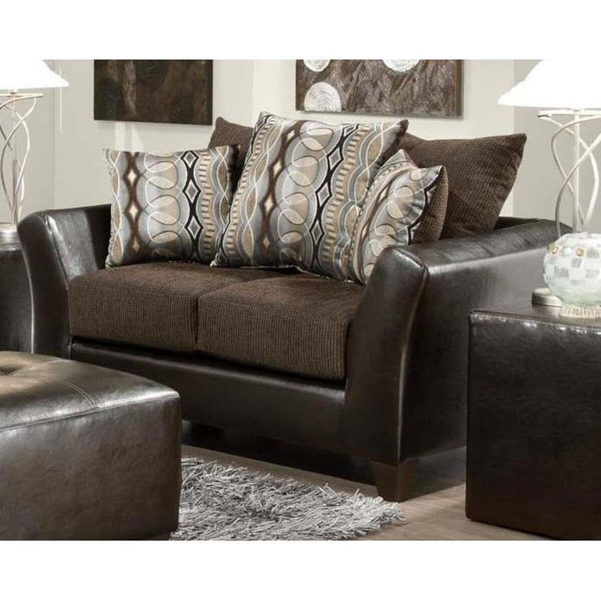 Leather fabric loveseat chocolate 424173 01 l for Home furniture sites