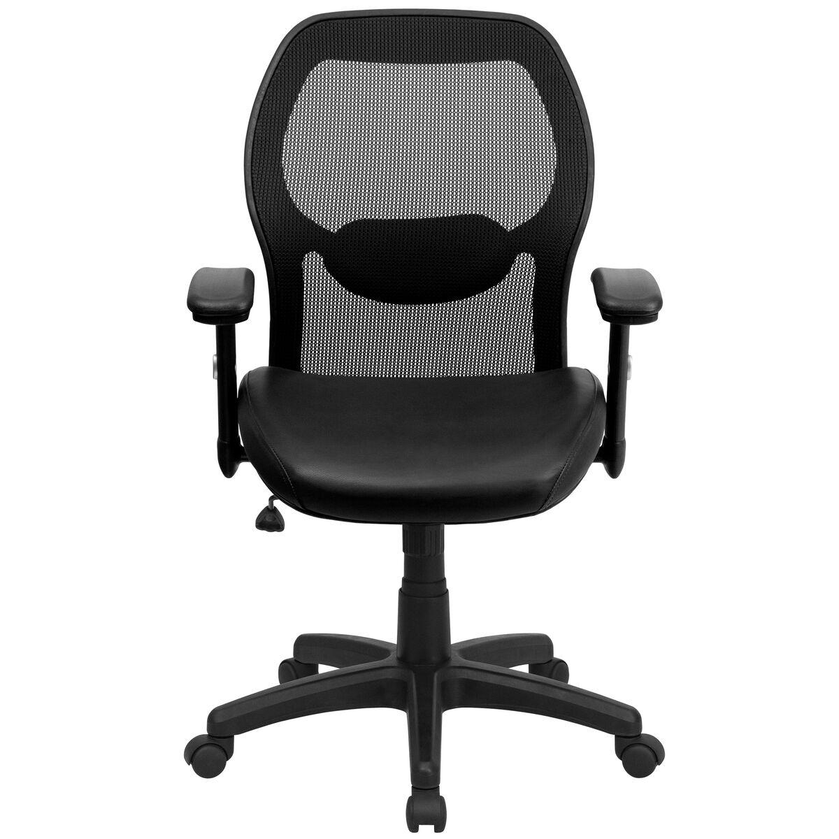black mid back leather chair lf w42b l gg bizchair com