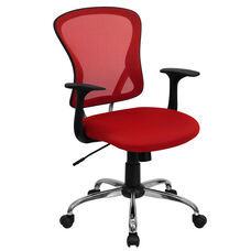 Mid-Back Red Mesh Swivel Task Chair with Chrome Base and Arms