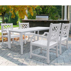 Bradley Outdoor 5 Piece Wood Dining Set with Table and 4 Herringbone Back Armchairs - White