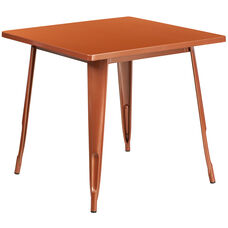 "Commercial Grade 31.5"" Square Copper Metal Indoor-Outdoor Table"