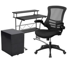 Work From Home Kit - Black Computer Desk, Ergonomic Mesh Office Chair and Locking Mobile Filing Cabinet with Side Handles