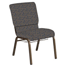 Embroidered 18.5''W Church Chair in Circuit Maple Fabric with Book Rack - Gold Vein Frame