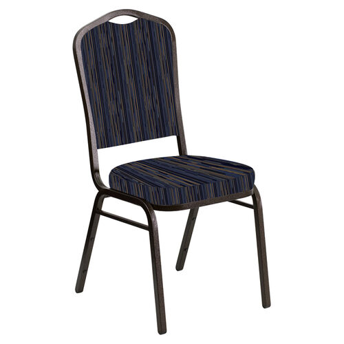 Our Embroidered Crown Back Banquet Chair in Canyon Tartan Blue Fabric - Gold Vein Frame is on sale now.