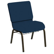 HERCULES Series 21''W Church Chair in E-Z Wallaby Royal Vinyl with Book Rack - Gold Vein Frame