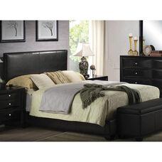 Ireland III Faux Leather Panel Bed - Queen - Black