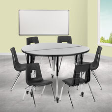 """Mobile 47.5"""" Circle Wave Collaborative Laminate Activity Table Set with 16"""" Student Stack Chairs, Grey/Black"""