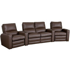 Manor Four Seater Home Theater - Wedge Arm in Top Grain Leather