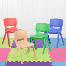 """4 Pack Plastic Stackable School Chairs with 13.25"""" Seat Height, Assorted Colors"""