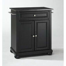 Solid Black Granite Top Portable Kitchen Island with Alexandria Feet - Black Finish