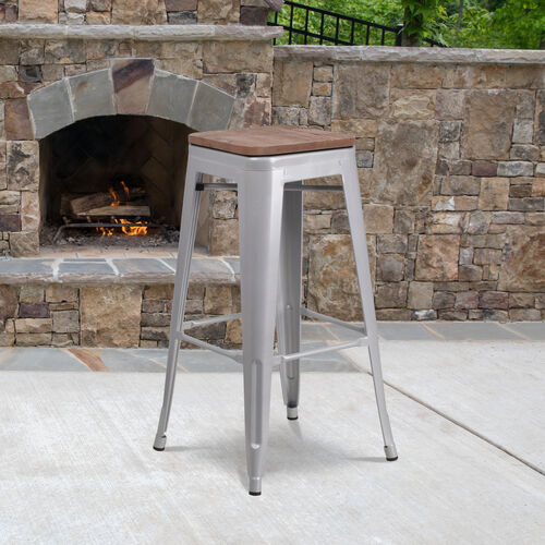 """Our 30"""" High Backless Silver Metal Barstool with Square Wood Seat is on sale now."""