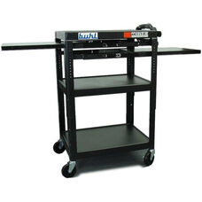 Black Height Adjustable AV Media Cart with Three Stationary Shelves and Two Pull-Out Shelves - 24