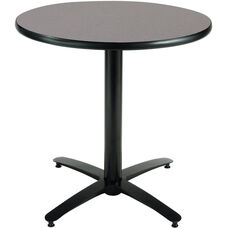 30'' Round Laminate Pedestal Table with Graphite Nebula Top - Black Arch Base
