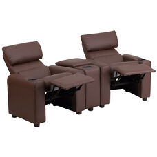 Kid's Brown LeatherSoft Reclining Theater Seating with Storage Console