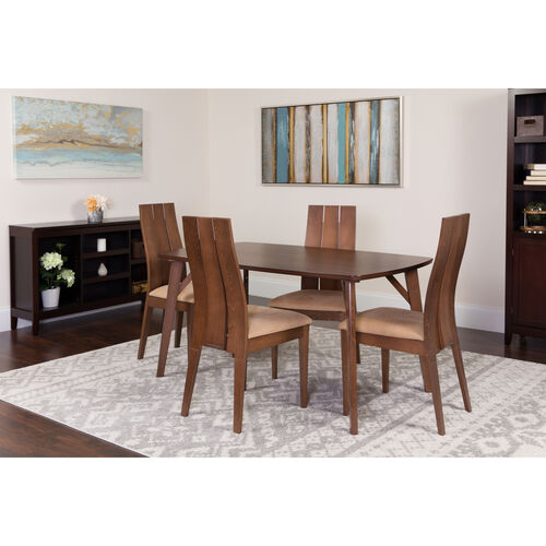 Dearborn 5 Piece Walnut Wood Dining Table Set with Wide Slat Back Wood Dining Chairs - Padded Seats