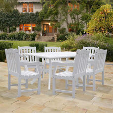 Bradley Outdoor 7 Piece Wood Patio Dining Set with Curvy Leg Table and 6 Arched Slat Back Armchairs - White