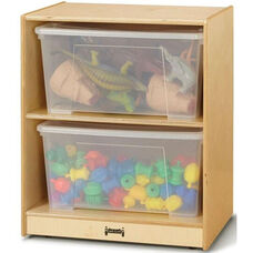 Jumbo Single Mobile 2 Shelf Storage Unit with 2 Clear Plastic Totes and Lids - 24.5