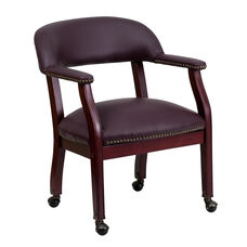 Burgundy Top Grain Leather Conference Chair with Accent Nail Trim and Casters
