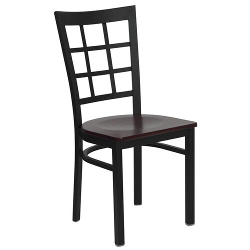 Our Black Window Back Metal Restaurant Chair with Mahogany Wood Seat is on sale now.