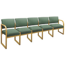 Contour Series Open Back 5 Seat Sofa with Sled Base