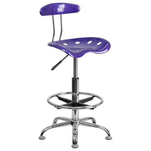 Our Vibrant Violet and Chrome Drafting Stool with Tractor Seat is on sale now.