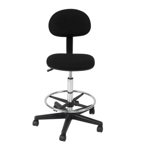 Studio 360° Swivel Armless Drafting Chair with Height Adjustable Chrome Footring and Casters - Black
