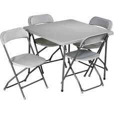 Work Smart 5-Piece Folding Table and Chair Set with Powder Coated Tubular Frame - Grey