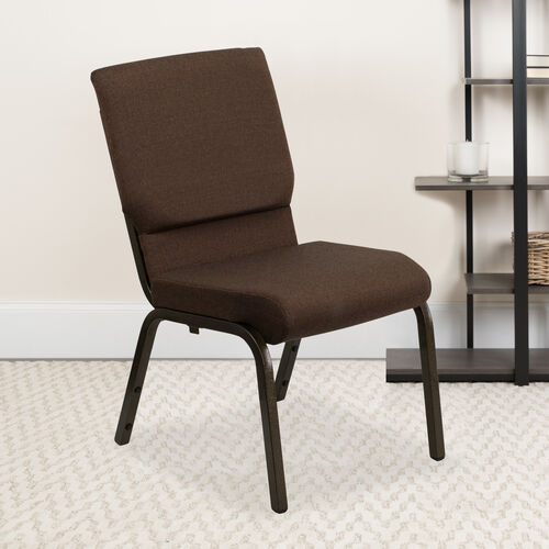 HERCULES™ Series Auditorium Chair - Stacking Padded Chair - 19inch Wide Seat - Brown Fabric/Gold Vein Frame